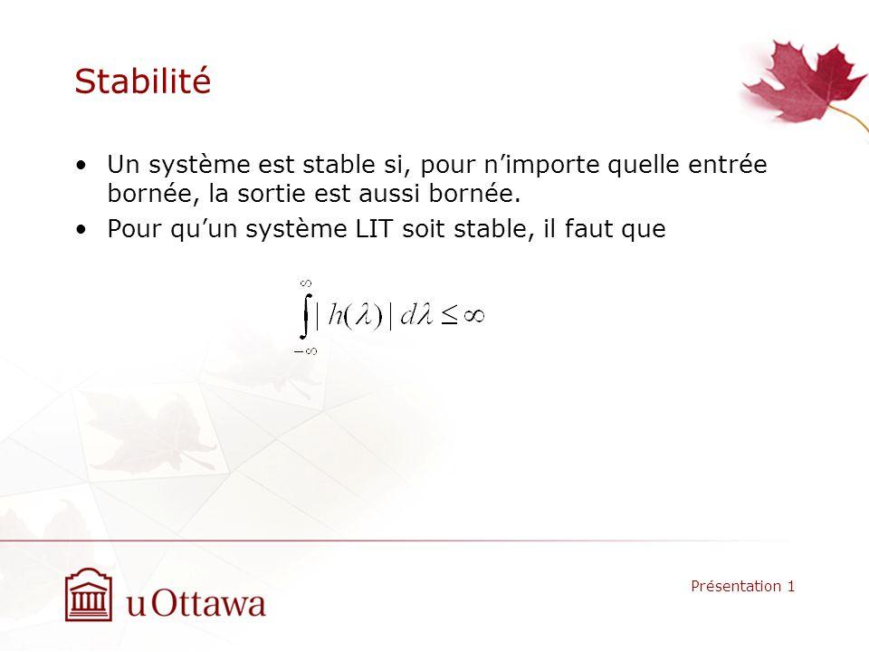 Stabilité Un système est stable si, pour n'importe quelle entrée bornée, la sortie est aussi bornée.
