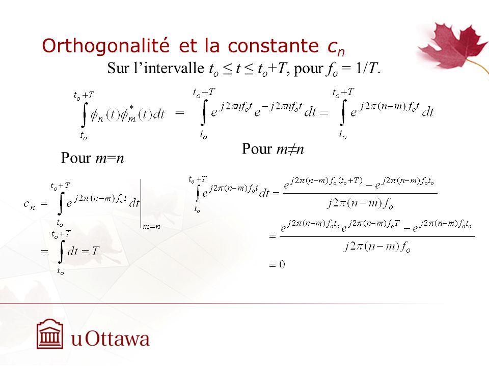 Orthogonalité et la constante cn