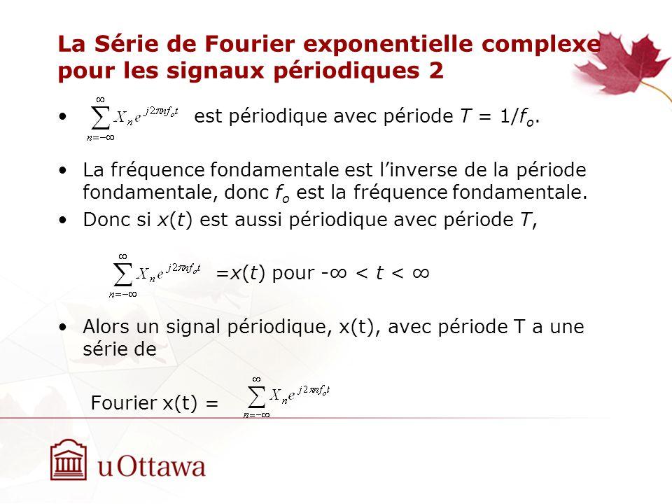 La Série de Fourier exponentielle complexe pour les signaux périodiques 2