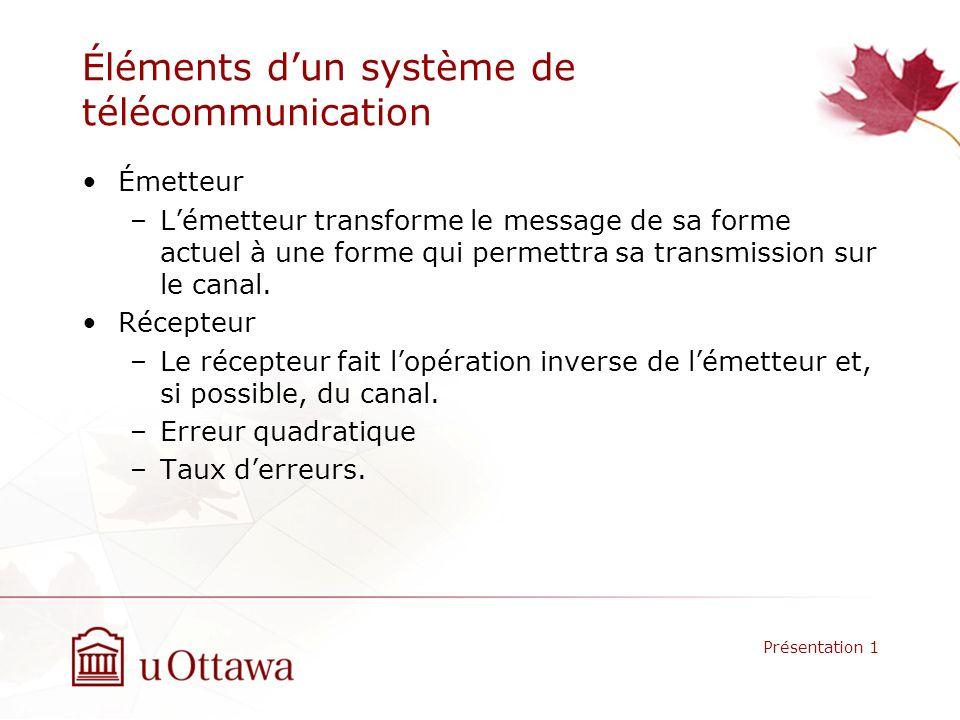 Éléments d'un système de télécommunication