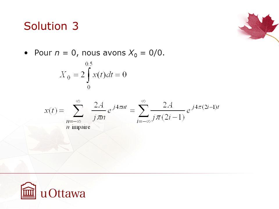 Solution 3 Pour n = 0, nous avons X0 = 0/0.