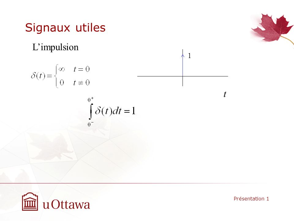 Signaux utiles L'impulsion 1 t Présentation 1