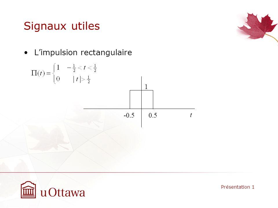 Signaux utiles L'impulsion rectangulaire 1 -0.5 0.5 t Présentation 1