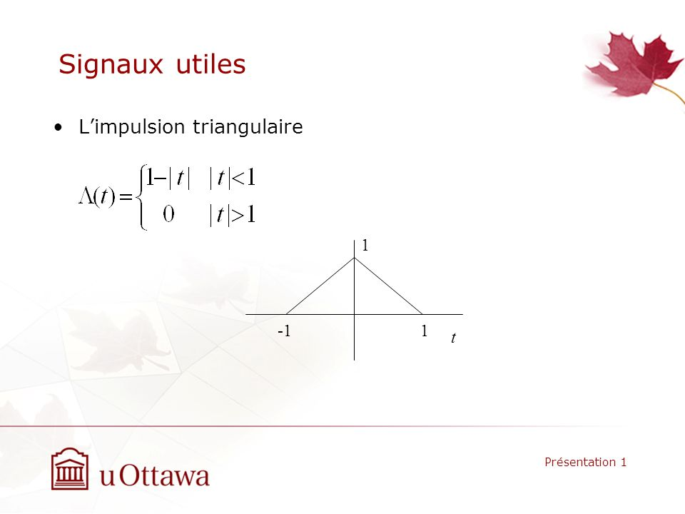 Signaux utiles L'impulsion triangulaire 1 -1 1 t Présentation 1