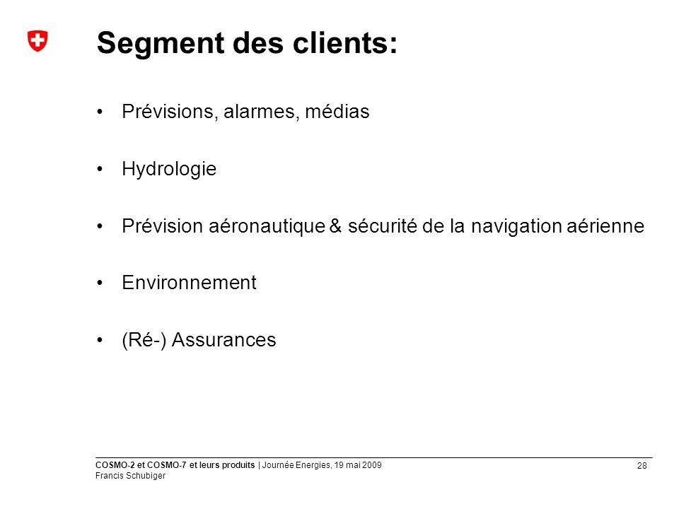 Segment des clients: Prévisions, alarmes, médias Hydrologie