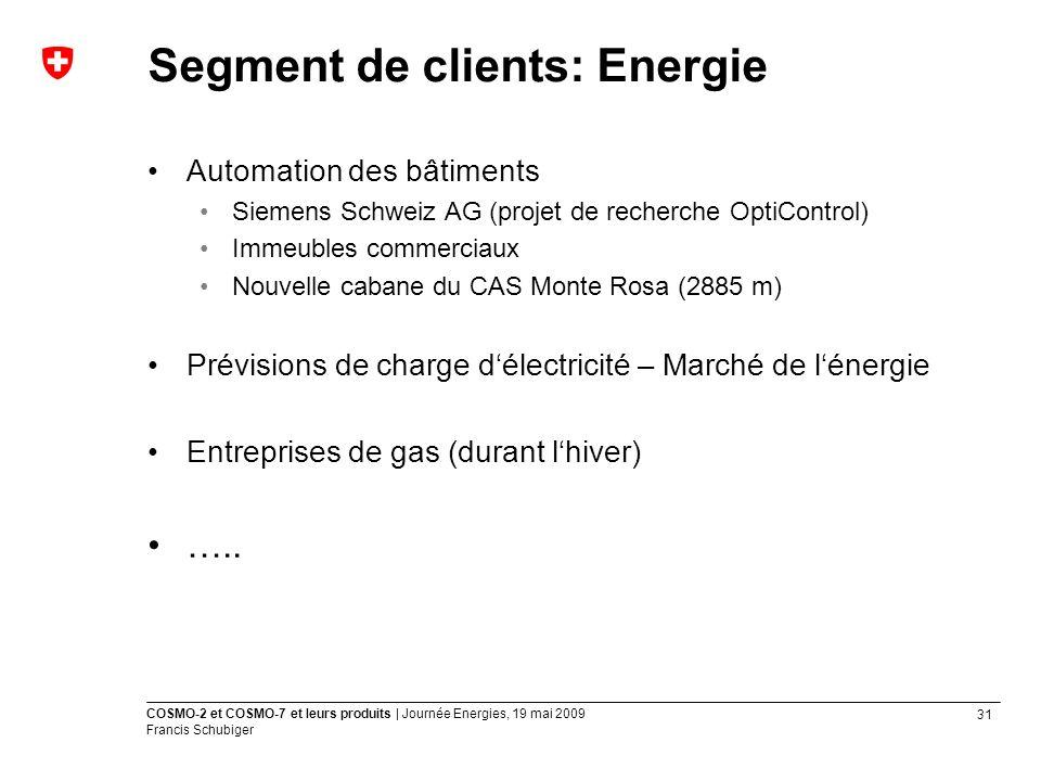 Segment de clients: Energie