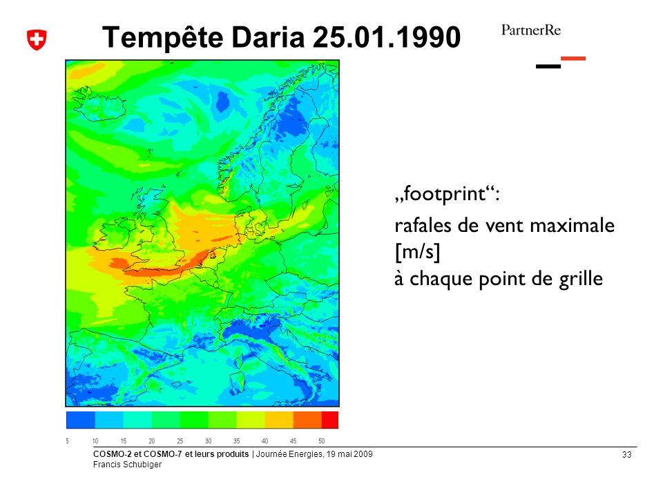 "Tempête Daria 25.01.1990 ""footprint :"