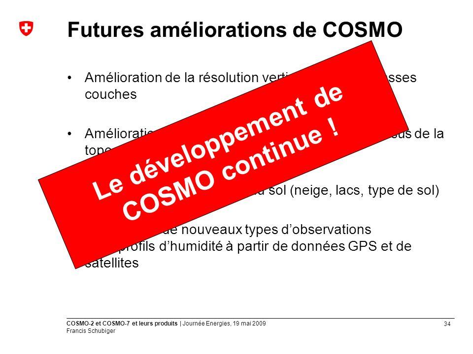 Futures améliorations de COSMO