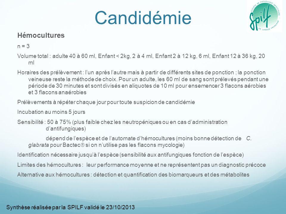 Candidémie Hémocultures n = 3