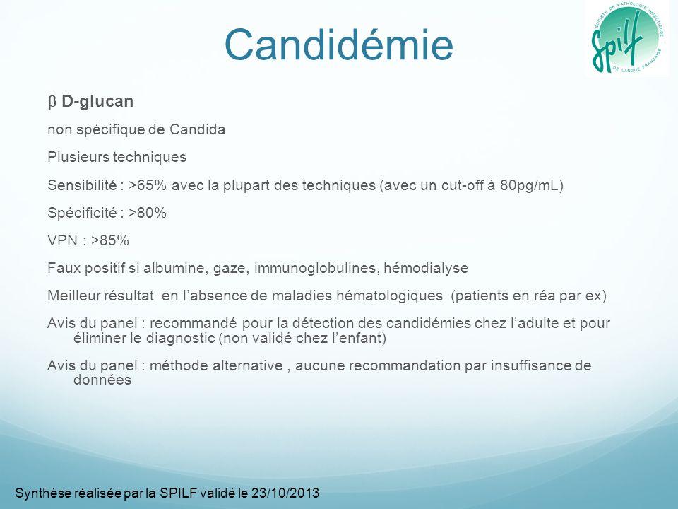 Candidémie  D-glucan non spécifique de Candida Plusieurs techniques