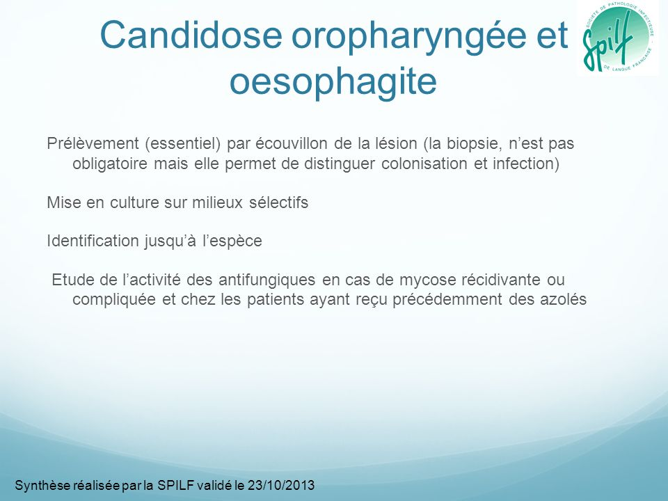 Candidose oropharyngée et oesophagite