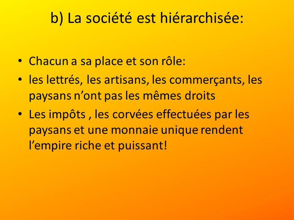b) La société est hiérarchisée: