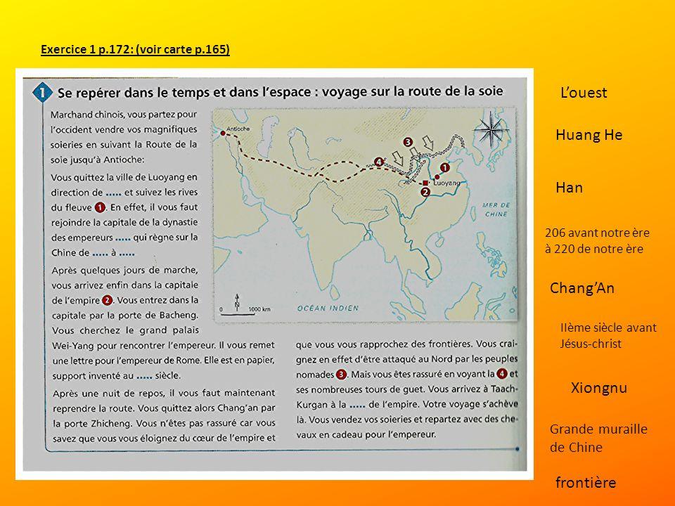 Exercice 1 p.172: (voir carte p.165)
