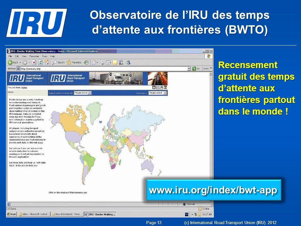 Observatoire de l'IRU des temps d'attente aux frontières (BWTO)