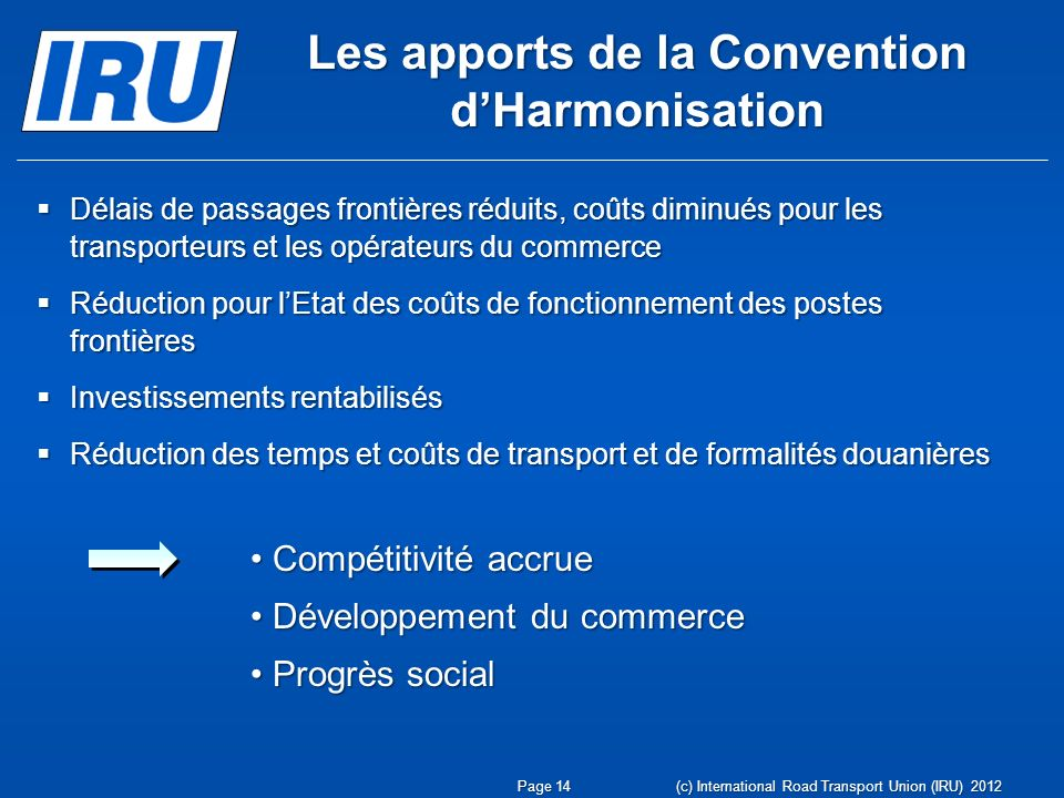 Les apports de la Convention d'Harmonisation