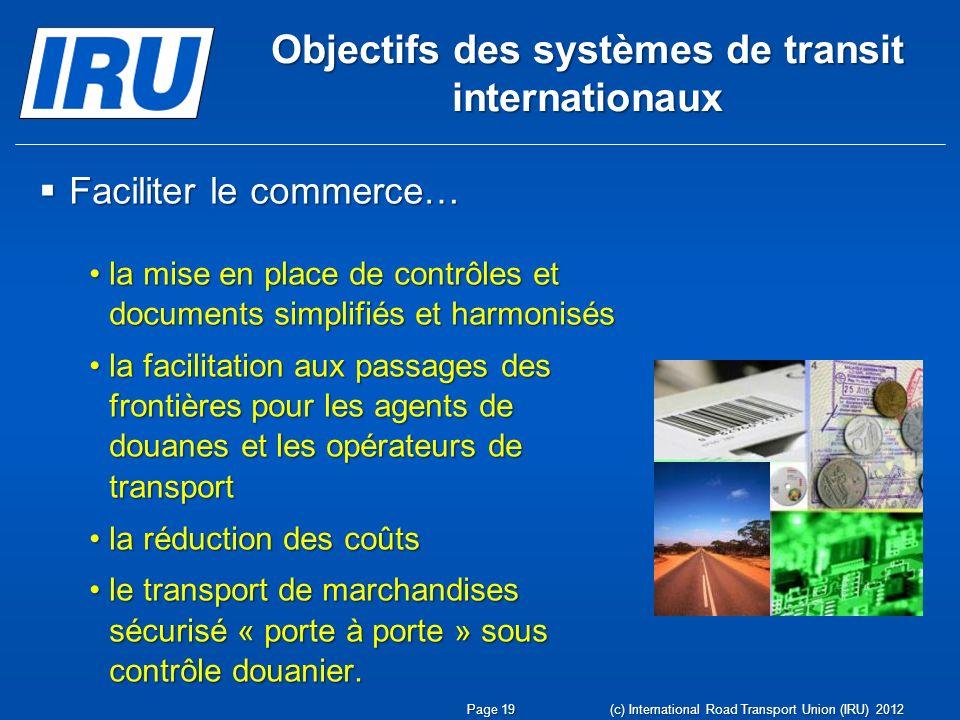 Objectifs des systèmes de transit internationaux