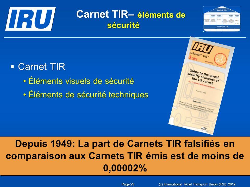 Carnet TIR– éléments de sécurité