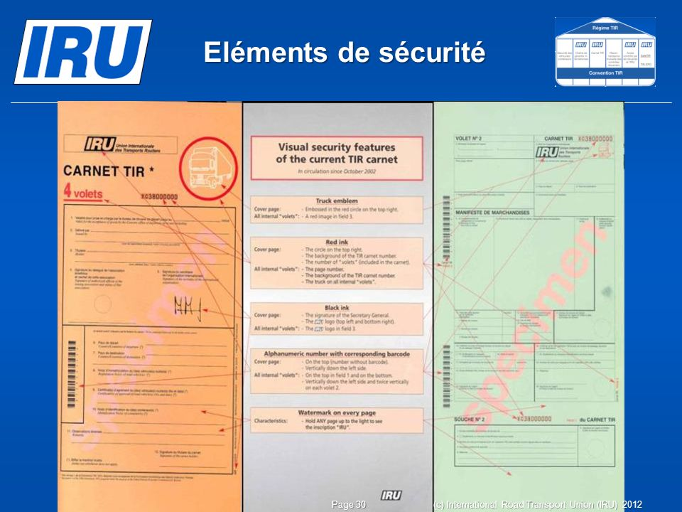 Eléments de sécurité (c) International Road Transport Union (IRU) 2012