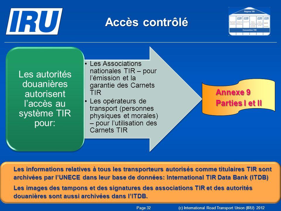Les autorités douanières autorisent l'accès au système TIR pour: