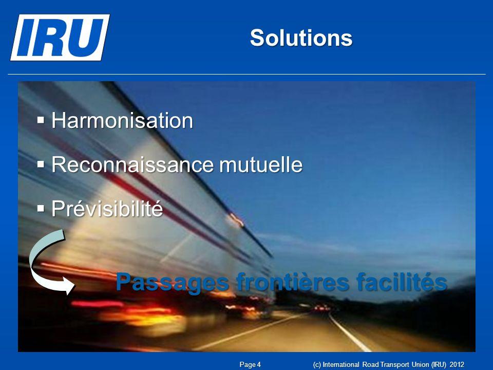 Solutions Harmonisation Reconnaissance mutuelle Prévisibilité