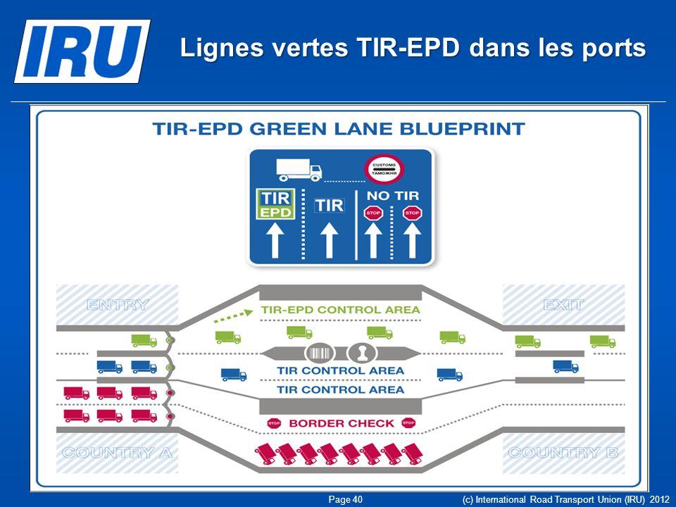 Lignes vertes TIR-EPD dans les ports