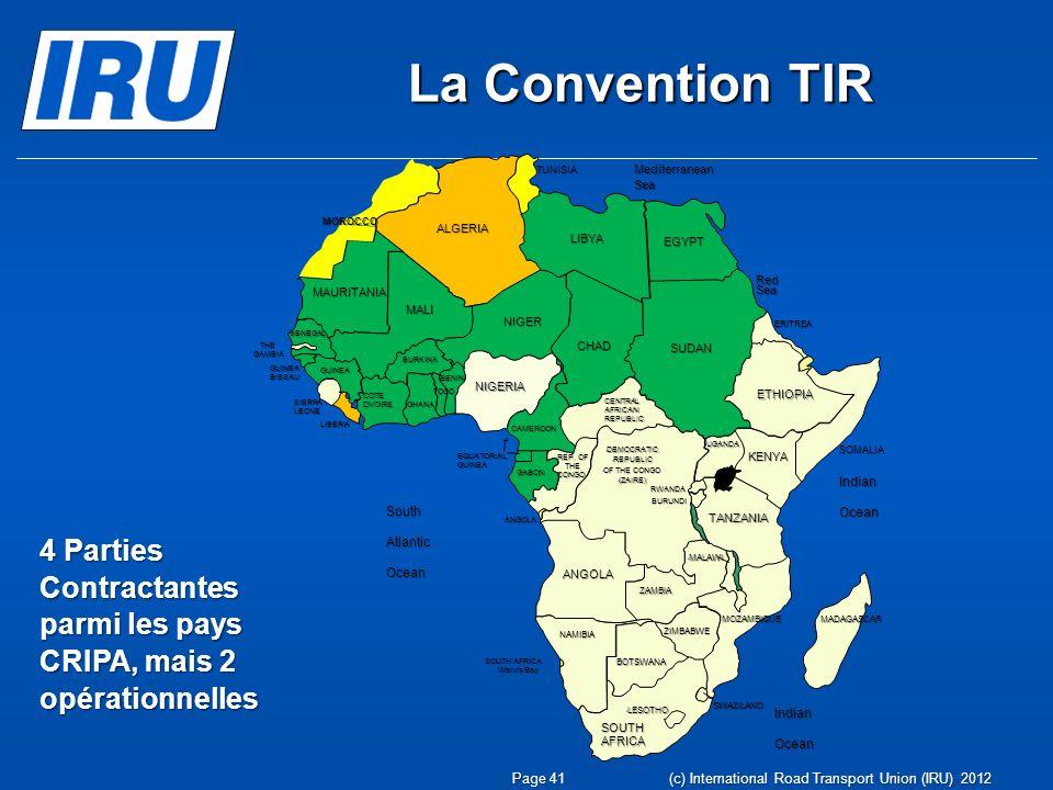 La Convention TIR TUNISIA. MOROCCO. ALGERIA. MAURITANIA. MALI. NIGER. LIBYA. CHAD. Mediterranean Sea.