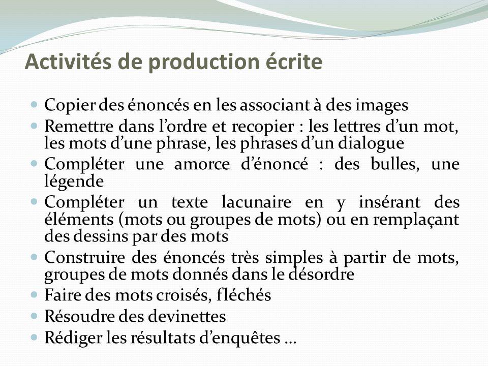 Activités de production écrite