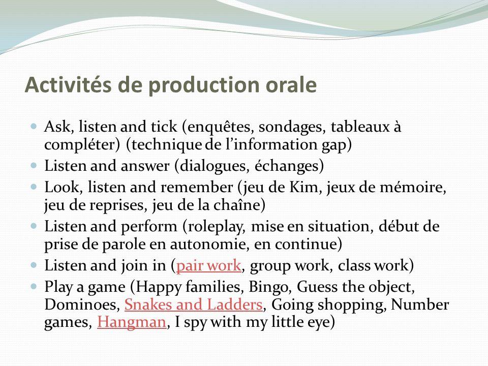 Activités de production orale