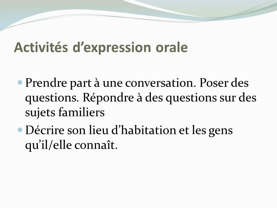 Activités d'expression orale