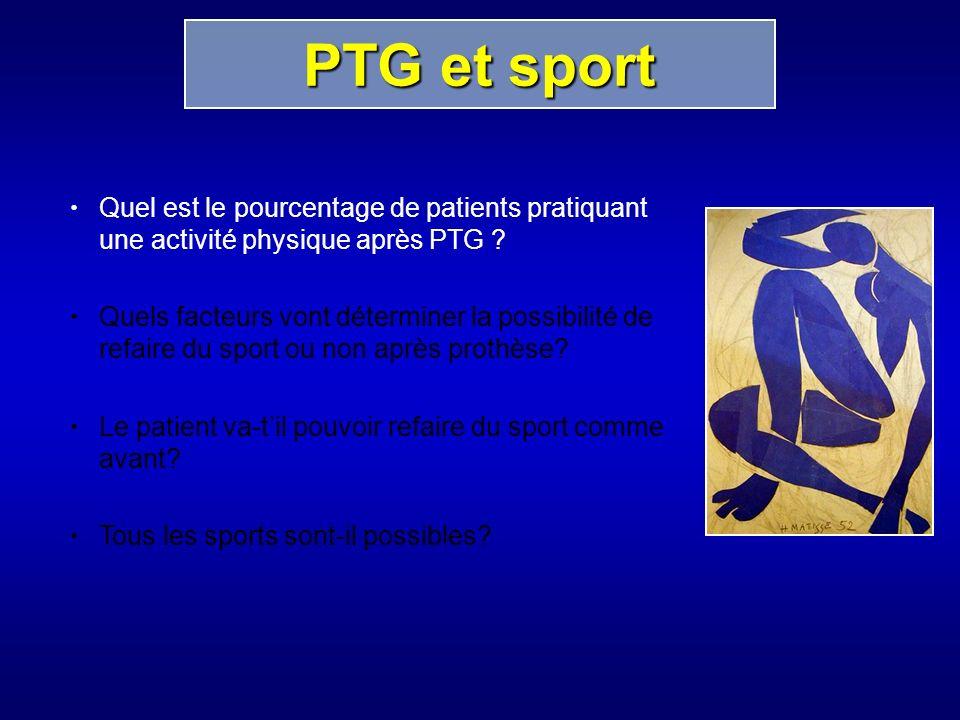 PTG et sport Quel est le pourcentage de patients pratiquant une activité physique après PTG