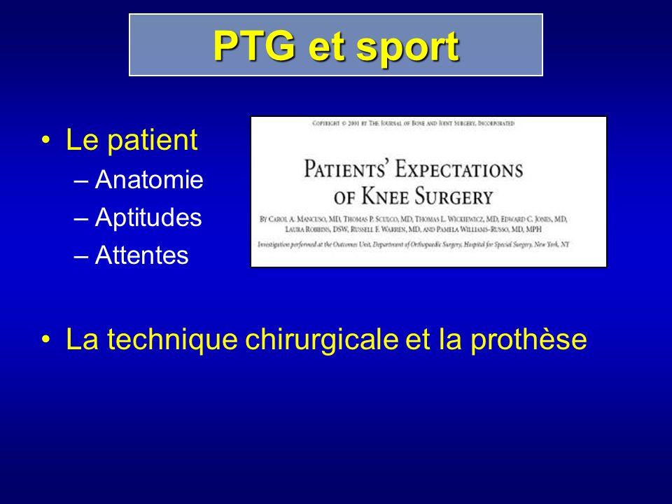 PTG et sport Le patient La technique chirurgicale et la prothèse