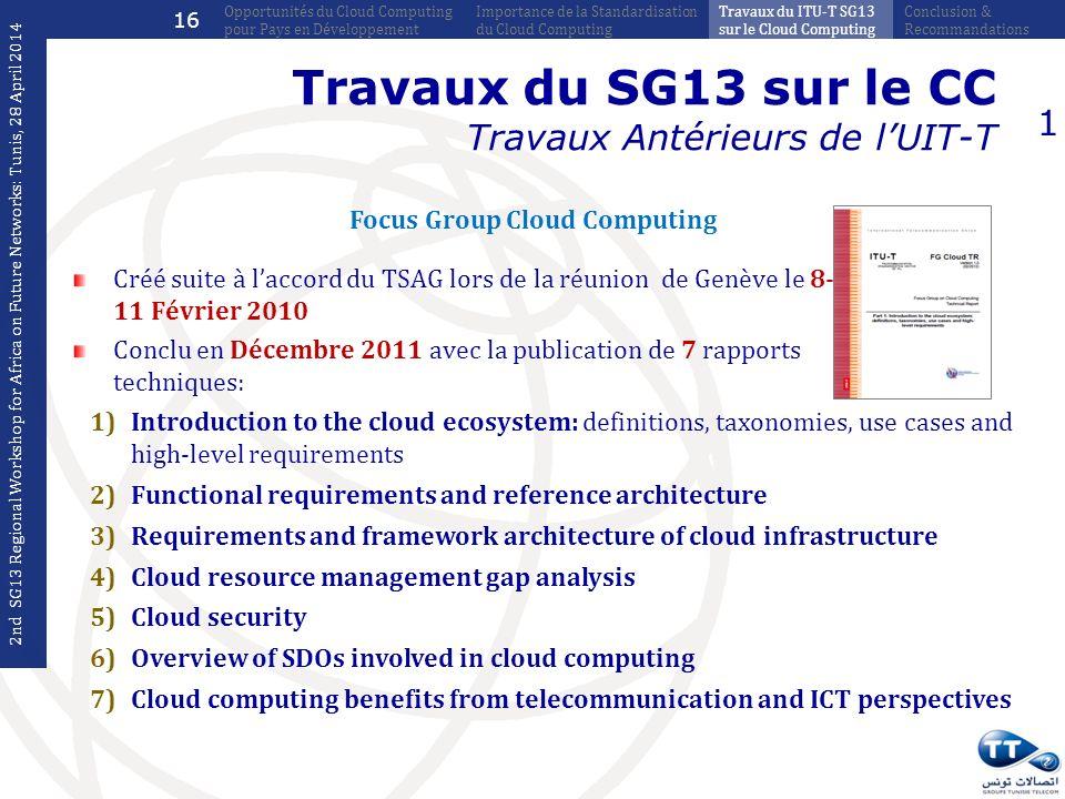 Travaux du SG13 sur le CC Travaux Antérieurs de l'UIT-T