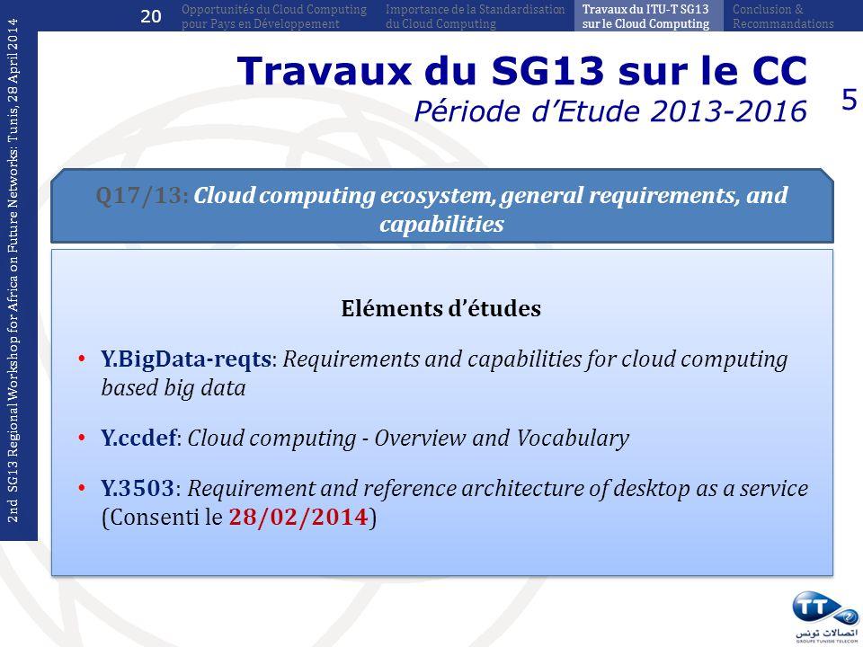 Travaux du SG13 sur le CC Période d'Etude 2013-2016