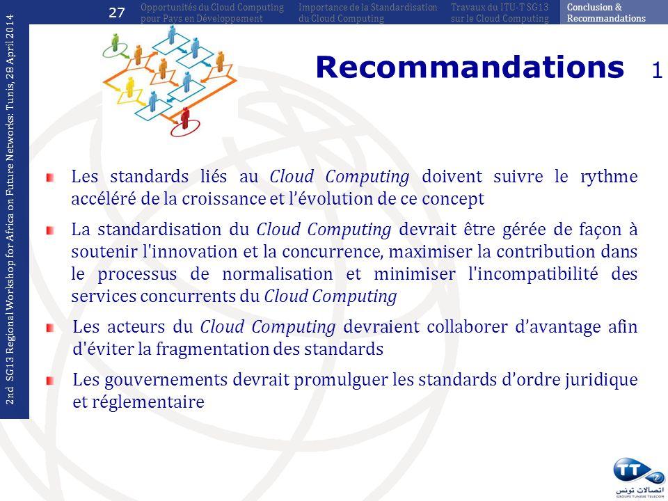 27 Opportunités du Cloud Computing pour Pays en Développement. Importance de la Standardisation du Cloud Computing.