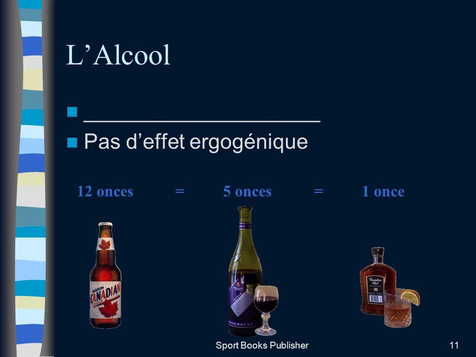 L'Alcool ____________________ Pas d'effet ergogénique 12 onces