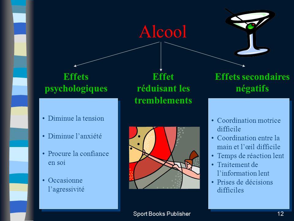 Alcool Effets psychologiques Effet réduisant les tremblements