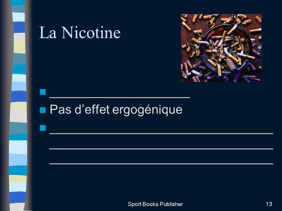 La Nicotine ____________________ Pas d'effet ergogénique