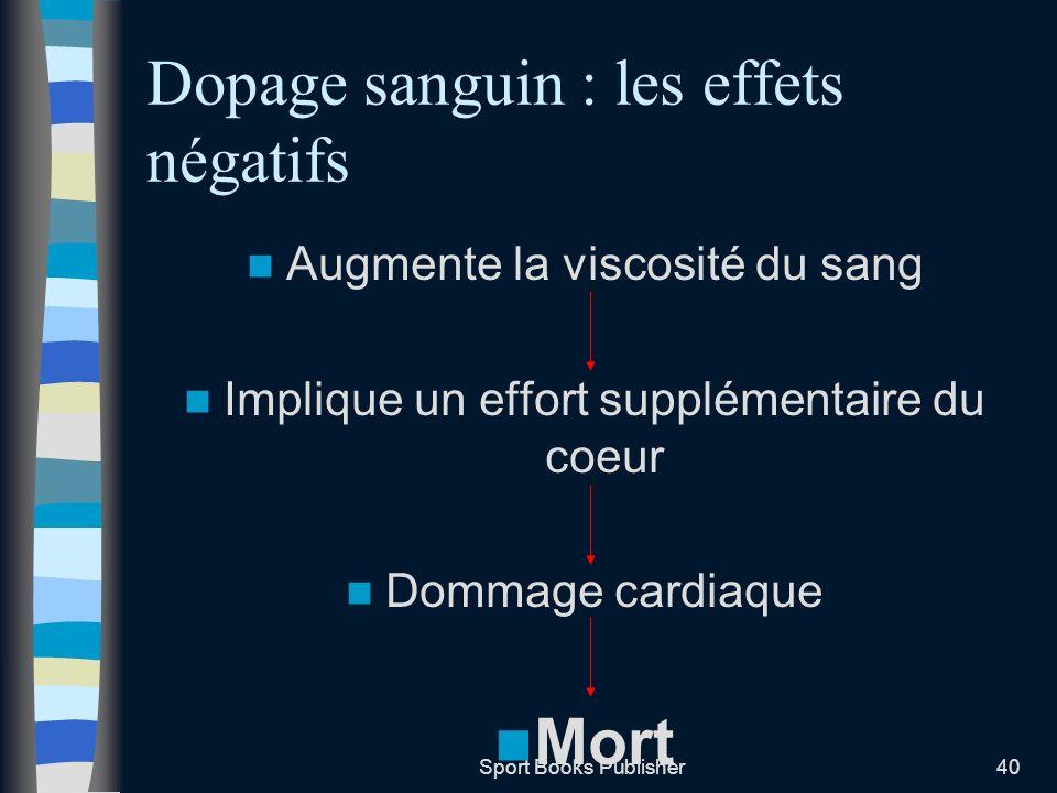 Dopage sanguin : les effets négatifs