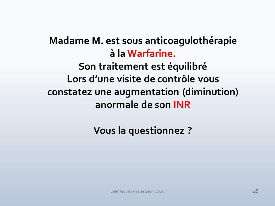 Madame M. est sous anticoagulothérapie à la Warfarine.