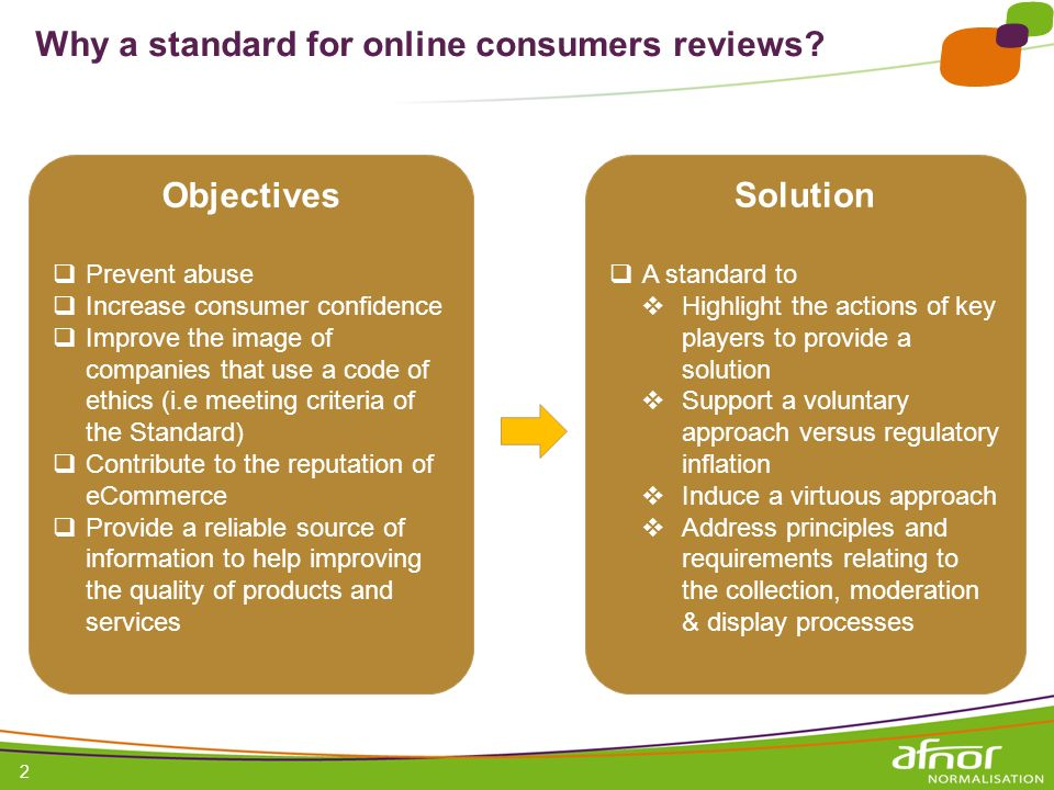 Why a standard for online consumers reviews