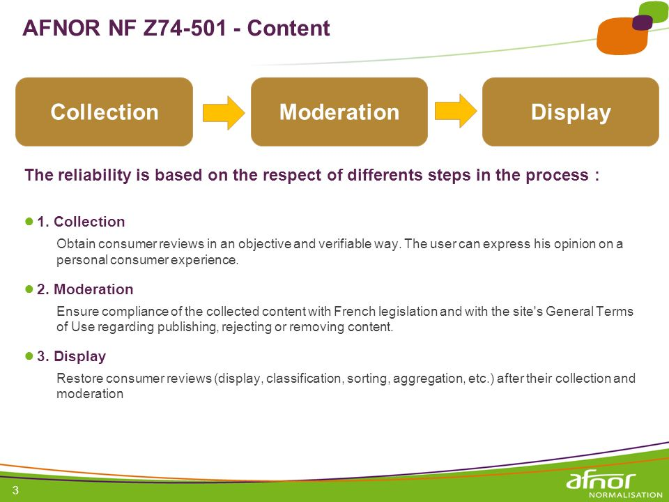 AFNOR NF Z Content Collection Moderation Display