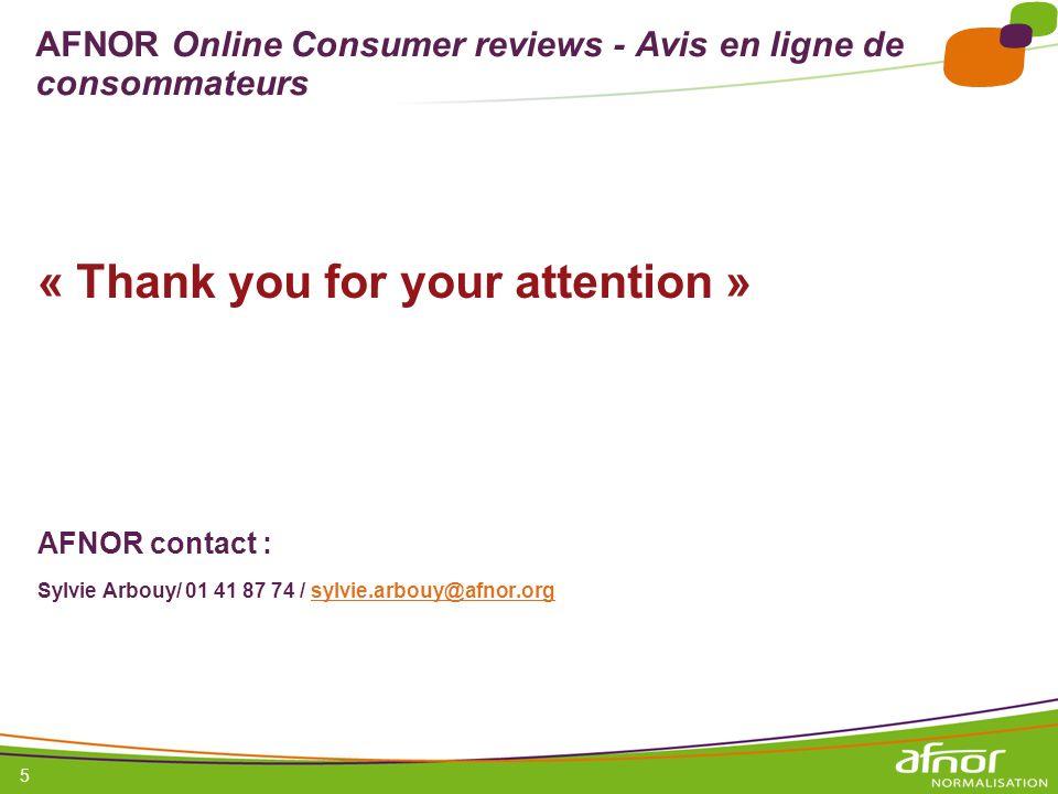 AFNOR Online Consumer reviews - Avis en ligne de consommateurs