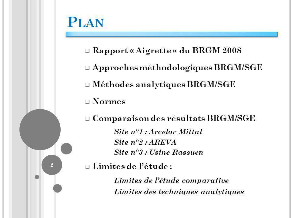 Plan Rapport « Aigrette » du BRGM 2008