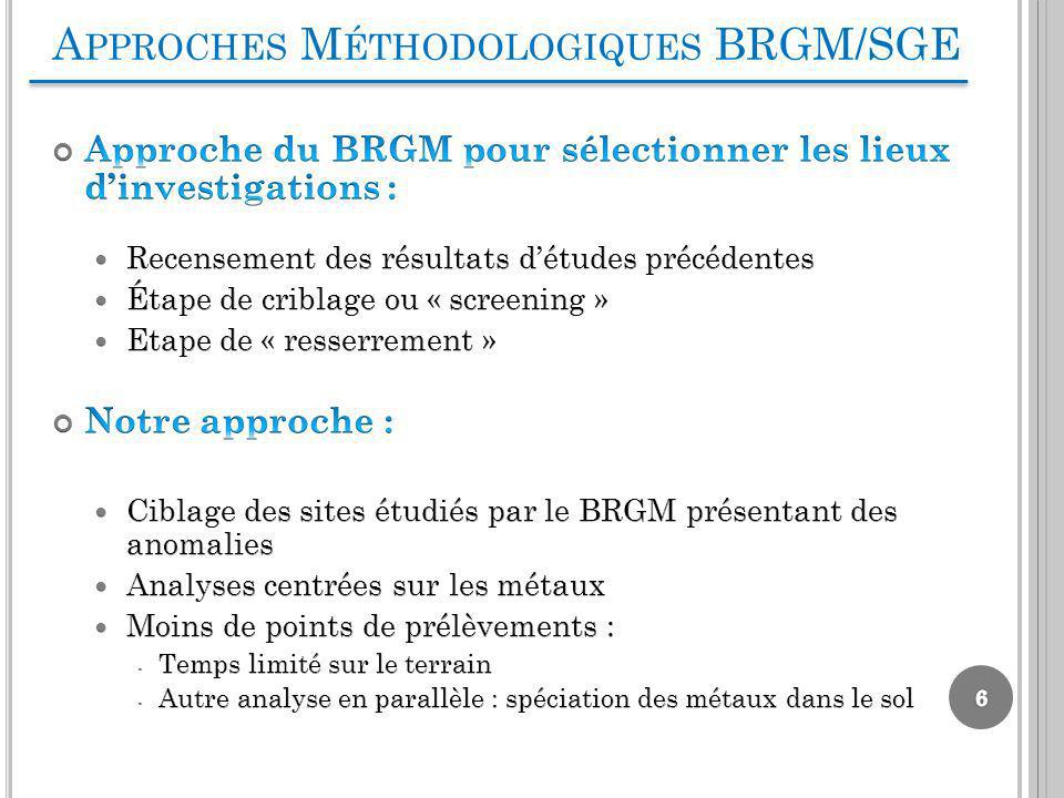 Approches Méthodologiques BRGM/SGE
