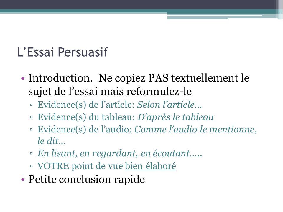 L'Essai Persuasif Introduction. Ne copiez PAS textuellement le sujet de l'essai mais reformulez-le.