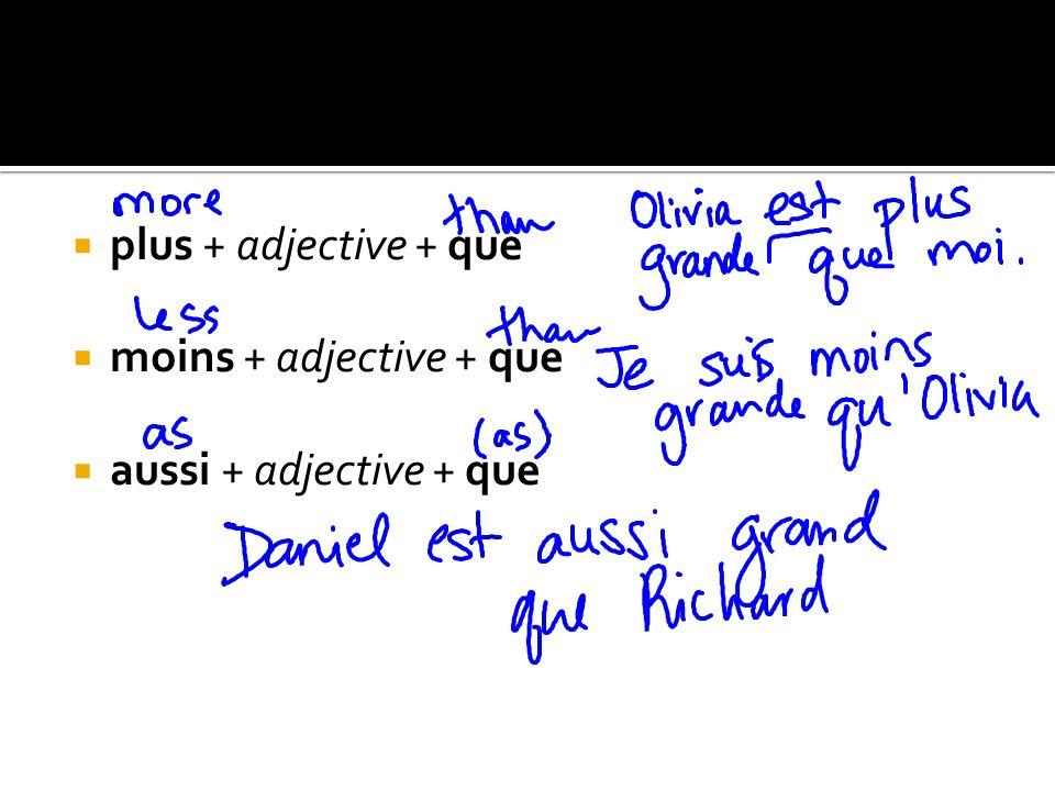 plus + adjective + que moins + adjective + que aussi + adjective + que