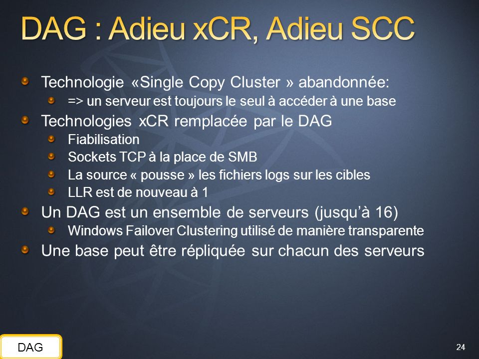 DAG : Adieu xCR, Adieu SCC