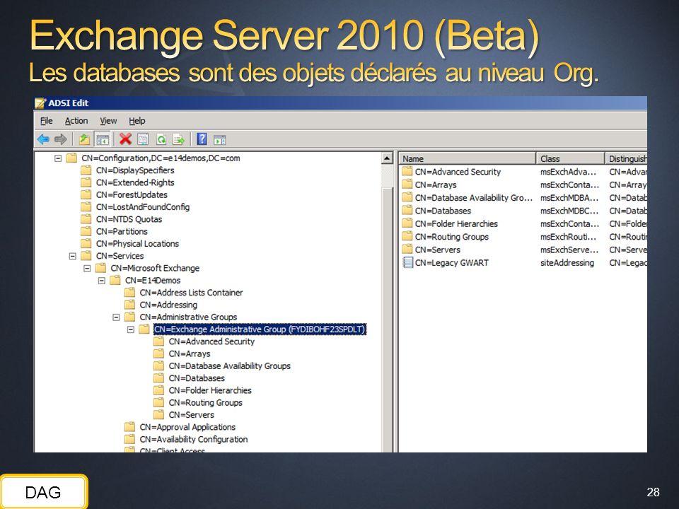 Exchange Server 2010 (Beta) Les databases sont des objets déclarés au niveau Org.