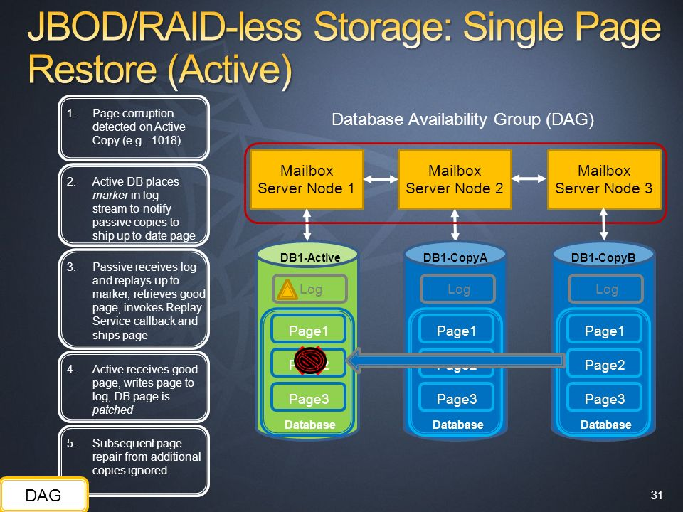 JBOD/RAID-less Storage: Single Page Restore (Active)