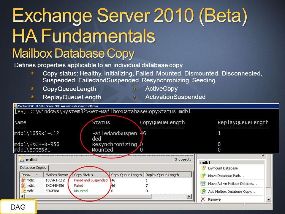 Exchange Server 2010 (Beta) HA Fundamentals Mailbox Database Copy